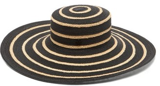 Maison Michel Ursula Striped Straw Hat - Black White