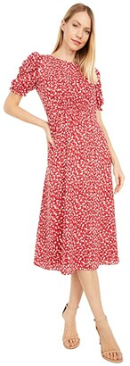 Vince Camuto Printed Chiffon Midi with Smocking and Novelty Sleeve (Persimmon) Women's Dress