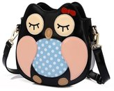 Katoony Girls Han Edition Fashion PU Cartoon Owl Single Shoulder Crossbody Bag Mini Children Bag with Zip