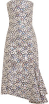 Balenciaga Embellished Embroidered Cotton-canvas Dress - Silver