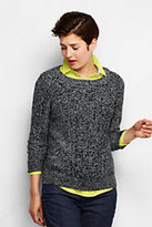 Classic Women's Tall 3/4 Sleeve Cable Crewneck Sweater-Radiant Navy Marl