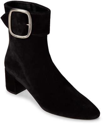 Saint Laurent Black Joplin Buckle Suede Ankle Booties