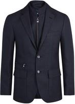 Corneliani Navy Wool Blend Jacquard Blazer