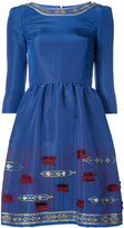 Oscar de la Renta metallic embroidered dress - women - Silk - 6