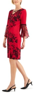 JM Collection Floral-Print Chiffon-Sleeve Dress, Created For Macy's