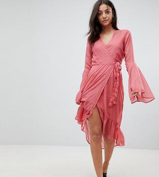 Vero Moda Tall dobby spot mini wrap dress with fluted sleeves-Pink