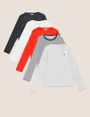 Marks and Spencer 5pk Cotton Ribbed Long Sleeve Tops (6-14 Yrs)