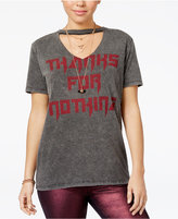 Freeze 24-7 Juniors' Thanks For Nothing Cutout Graphic T-Shirt