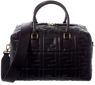 Fendi Ff Embossed Small Leather Boston Bag