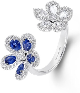 David Morris White Gold, Diamond and Blue Sapphire Miss Daisy 2 Flower Ring