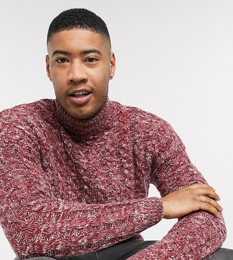 ASOS DESIGN Tall oversized cable knit sweater in burgundy twist
