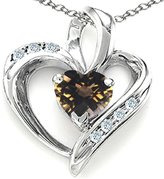 Tommaso design Studio Tommaso Design Heart-Shape 6mm Genuine Smoky Quartz and Diamond Pendant 14k