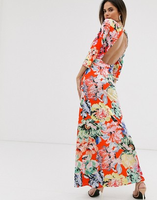 Asos Design DESIGN ruched front maxi with open back in bold floral print-Multi