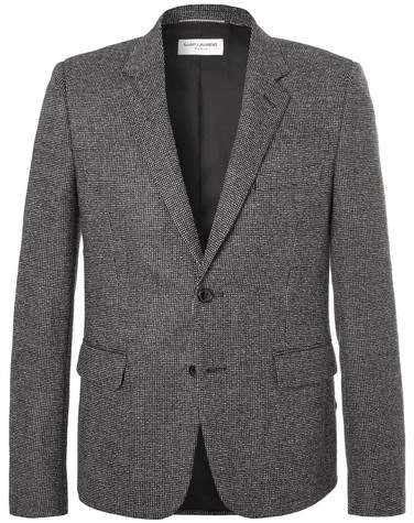Saint Laurent Slim-Fit Basketweave Wool Suit Jacket