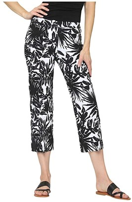 Lisette L Montreal Maldives Jacquard Pull-On Cropped Trouser Pants (White/Black) Women's Casual Pants