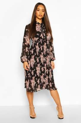 boohoo Floral Print Pleated Skirt Midi Dress