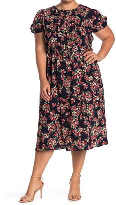 London Times Floral Puff Sleeve Midi Dress