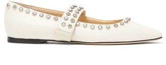 Jimmy Choo Minette Crystal Trimmed Leather Ballet Flats - Womens - White