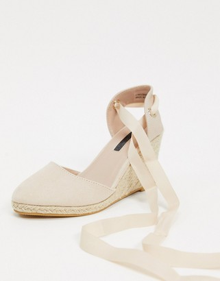 Miss Selfridge espadrille wedges with tie ankle in sand