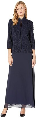 Alex Evenings Long Jacquard Knit Jacket Dress with Mandarin Collar Jacket (Navy) Women's Dress