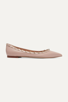 Valentino Garavani Rockstud Textured-leather Point-toe Flats - Antique rose