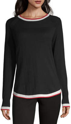 Liz Claiborne Simply Womens Crew Neck Long Sleeve Pullover Sweater