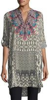 Tolani Skyler Long Ikat-Print Silk Tunic, Plus Size