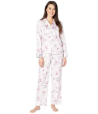 Lauren Ralph Lauren Petite Sateen Woven Pointed Notch Collar Long Pants PJ Set