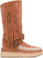 Mou 'Mueskitallsue' boots - women - Cotton/Raffia/Suede/rubber - 36