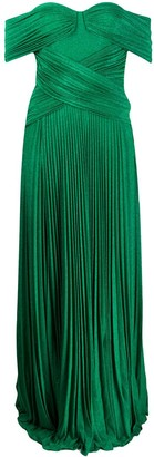 Elisabetta Franchi Off-Shoulder Pleated Gown