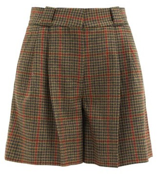 BLAZÉ MILANO Drum Beat Checked Wool-twill Suit Shorts - Green Multi