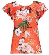 Wallis Petite Orange Tropical Print Flute Sleeve Top