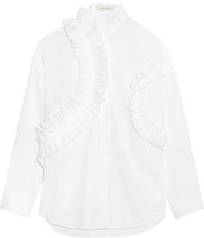 Cédric Charlier Ruffle-trimmed Cotton-poplin Shirt