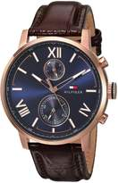 Tommy Hilfiger Men's 'ALDEN' Quartz Stainless Steel and Leather Automatic Watch, Color: Brown (Model: 1791308)