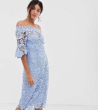 Paper Dolls Tall crochet lace midi pencil dress-Blue