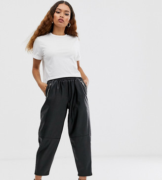 Asos DESIGN Petite tapered leather look trousers-Black