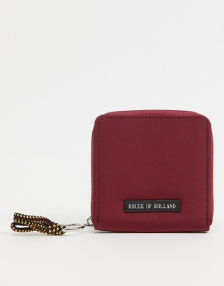 House of Holland purse in burgundy with contrast cord detail