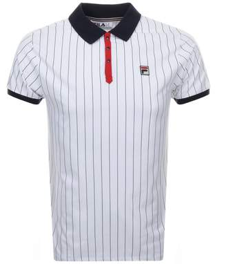 Fila Vintage Pinstripe Polo T Shirt White