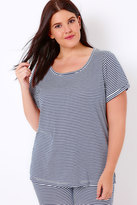 Yours Clothing Navy & White Striped Jersey Pyjama Top
