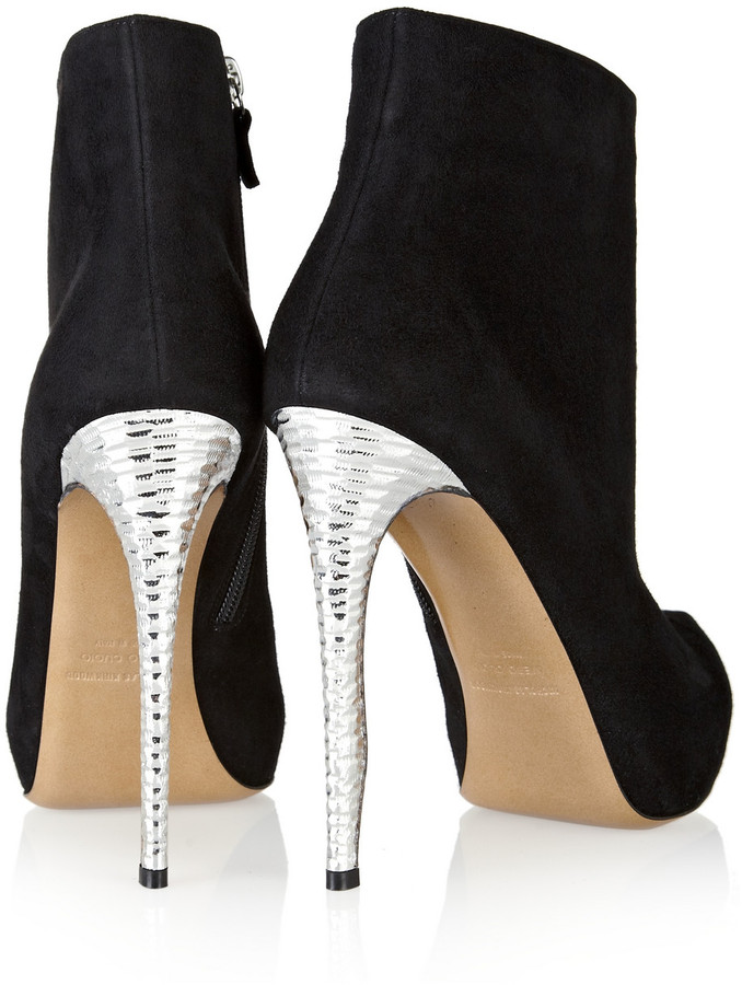 Nicholas Kirkwood Hammered-metal and suede ankle boots