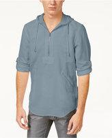 INC International Concepts Men's Half-Zip Linen-Blend Hoodie, Only at Macy's