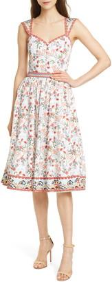 Alice + Olivia Portia Floral Sweetheart Neck Stretch Cotton Midi Dress