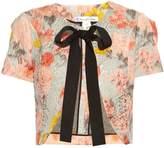 Oscar de la Renta Floral-jacquard cropped jacket