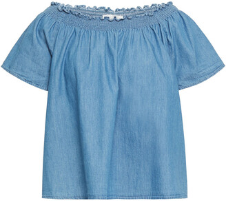 Joie Off-the-shoulder Shirred Cotton-chambray Top