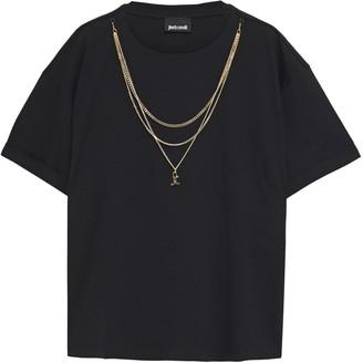 Just Cavalli Chain-trimmed Cotton-jersey T-shirt
