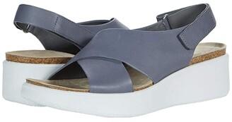 Ecco Corksphere Wedge Sandal (Titanium Cow Leather) Women's Shoes