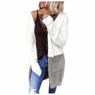 MOTOCO Women's Sweater Jacket Long Sleeve Solid Color Long Knit Splicing Pocket Cardigan Sweatershirt Outerwear Jumper(M