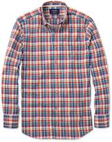 Charles Tyrwhitt Classic Fit Orange and Blue Check Cotton/linen Casual Shirt Single Cuff Size Large