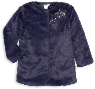 Billieblush Little Girl's Sequin Star Patch Faux-Fur Jacket