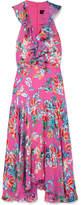 Saloni Rita Floral-print Devoré-chiffon Midi Dress - Pink